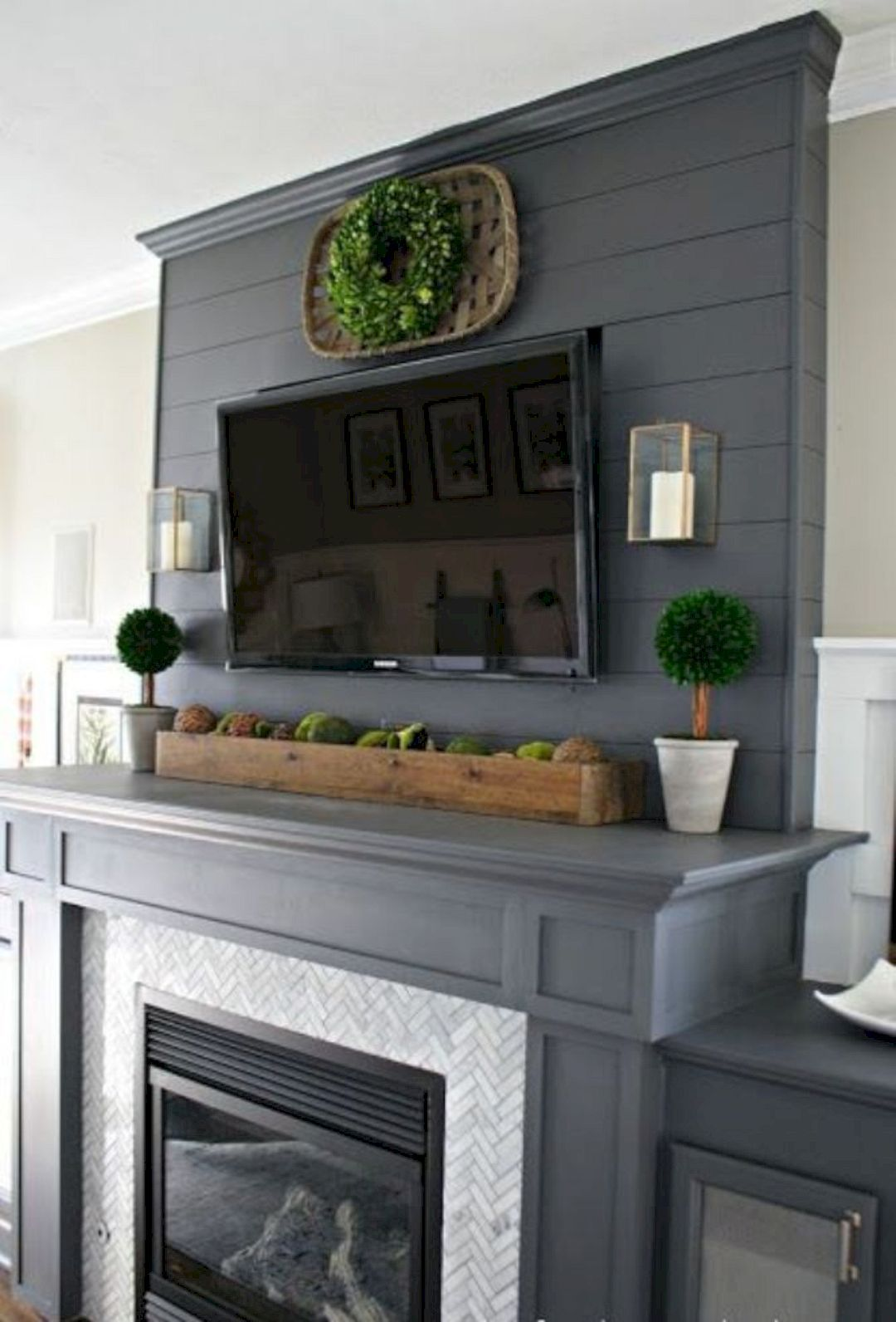 Fireplace Mantel Decor With Tv Fireplaces Decorating Ideas 7 Modern Farmhouse Style
