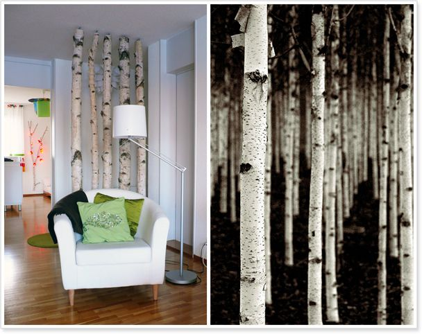 Birkenstämme als Raumtrenner / Birch Wood in the Livingroom ...
