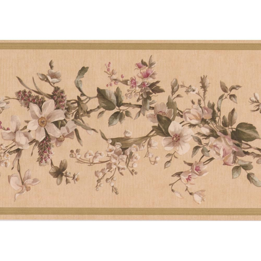 Retro Art White Flowers On Vine Beige Floral Prepasted Wallpaper