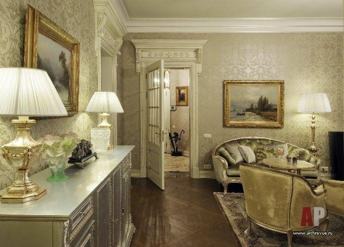 Фото интерьера гостиной квартиры в классическом стиле ...