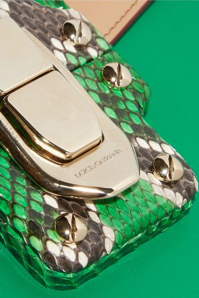 0492cb69663b Dolce   Gabbana - Lucia Python-trimmed Two-tone Leather Shoulder Bag - Green