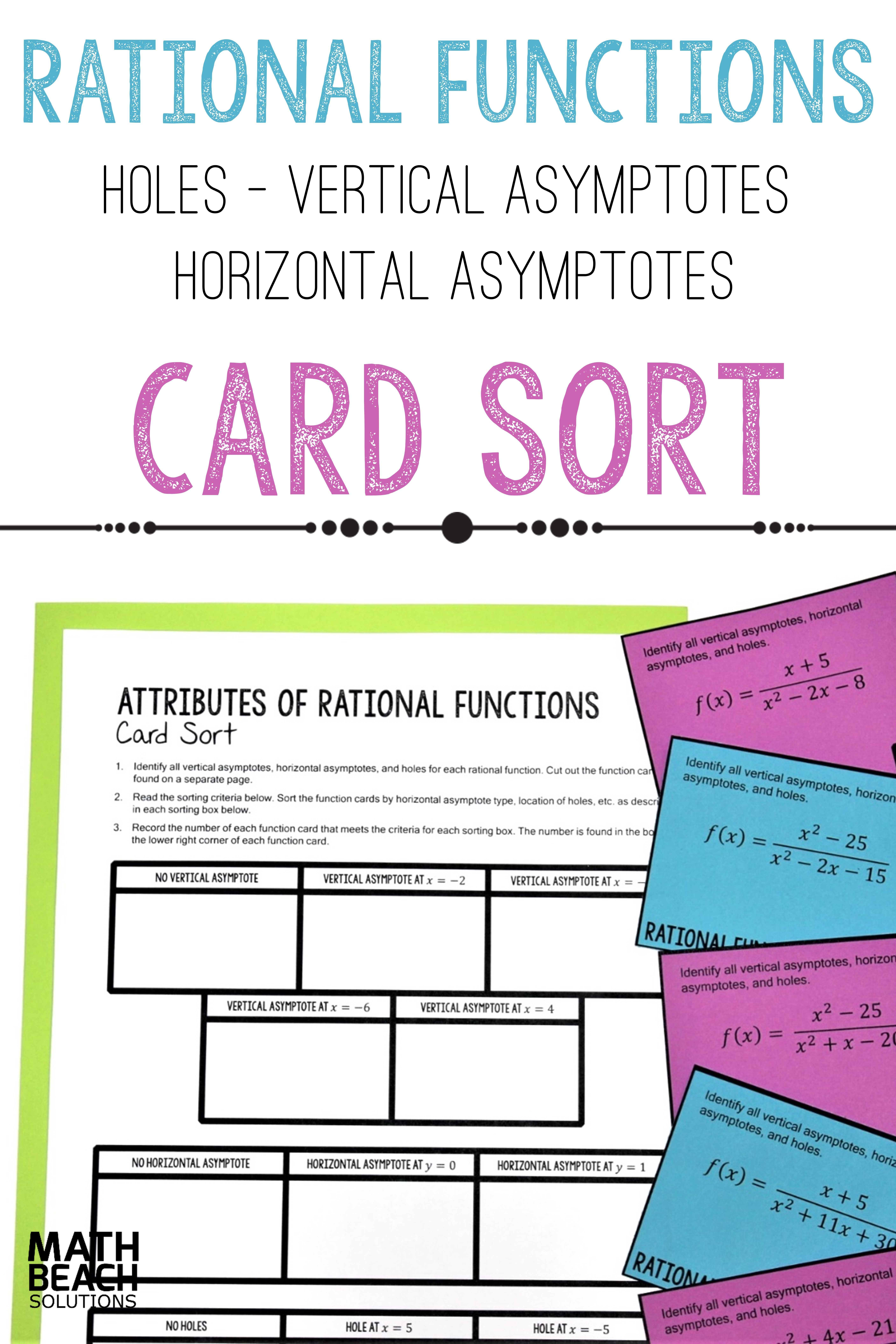Attributes Of Rational Functions Card Sort Activity With