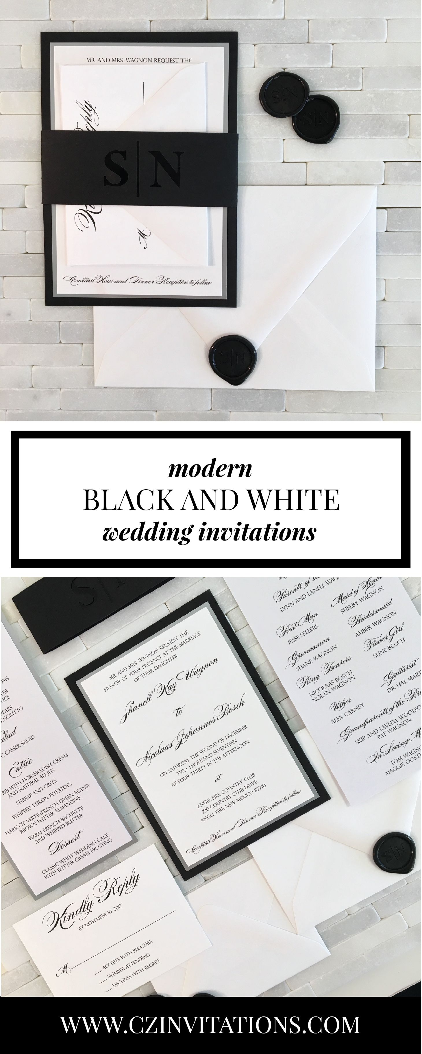 Black and Silver Wedding Invitation with Laser Cut Belly Band ...