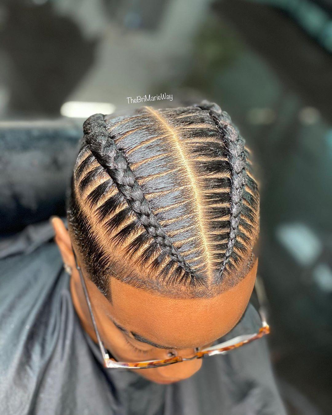Bri Marie Hair On Instagram 2 Stitched Braids Simplicity Booking Men S 2 Braids Brim Cornrow Hairstyles For Men Boy Braids Hairstyles 2 Braids Men