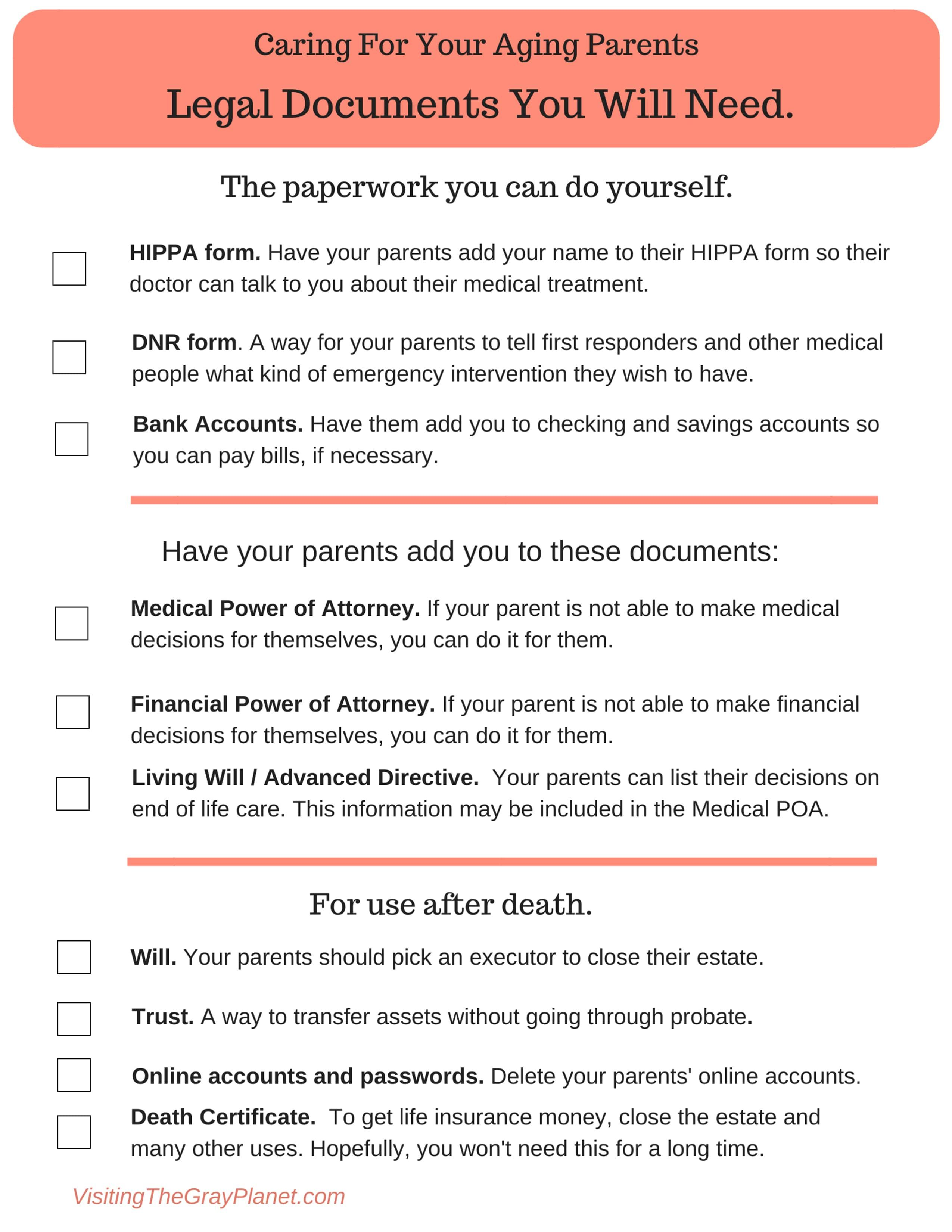 This Is A Printable Checklist Of Legal Documents You Will Need To