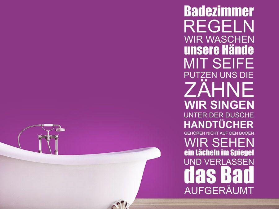 Badezimmer Regeln Wellness Spruchband Wall tattoo, Bath and - wandtattoo für badezimmer