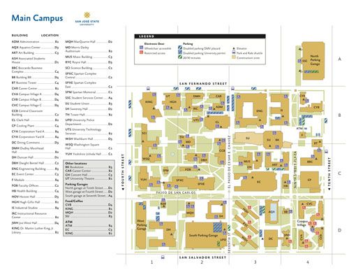 san jose state university map campus Sjsu Campus Map Campus Map Campus San Jose State University san jose state university map campus