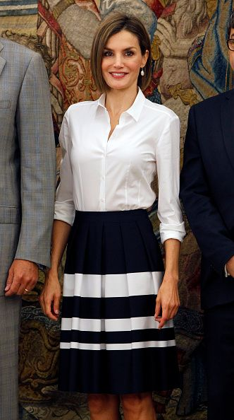 Queen Letizia of Spain attends audiences at Zarzuela Palace on September 2, 2015 in Madrid, Spain