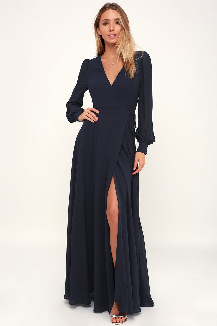 286e815804 My Whole Heart Navy Blue Long Sleeve Wrap Dress in 2019 | essentials ...