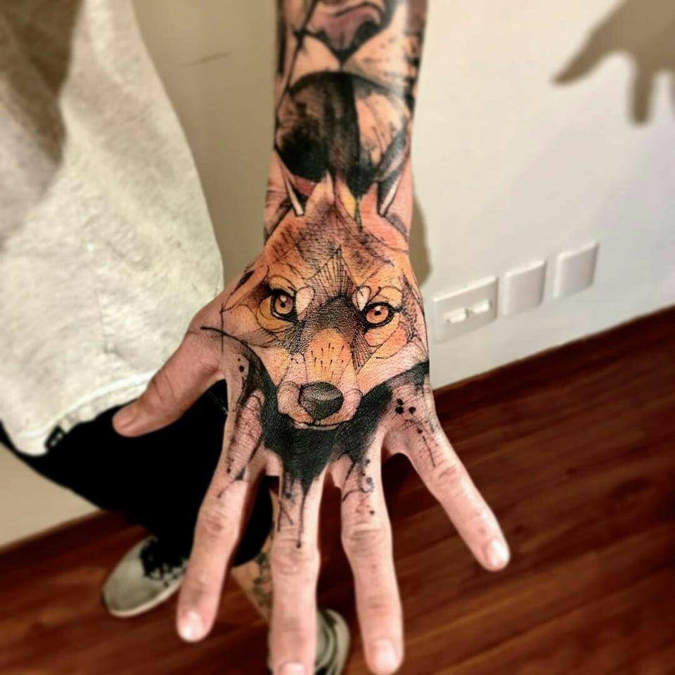 Fox Hand Color Fox Tattoo Geometric Hyper Realistic Tattoo Hand Tattoos