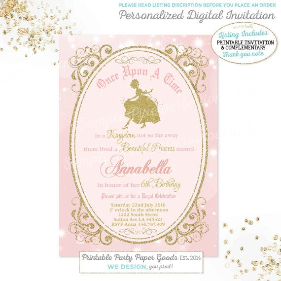 Girls princess invitation girls cinderella invitation girls royal girls princess invitation girls cinderella invitation girls royal princess birthday invitation cinderella party royal princess party stopboris Image collections