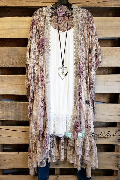 One More Time Long Kimono Lace - Rose [product type] - Angel Heart Boutique