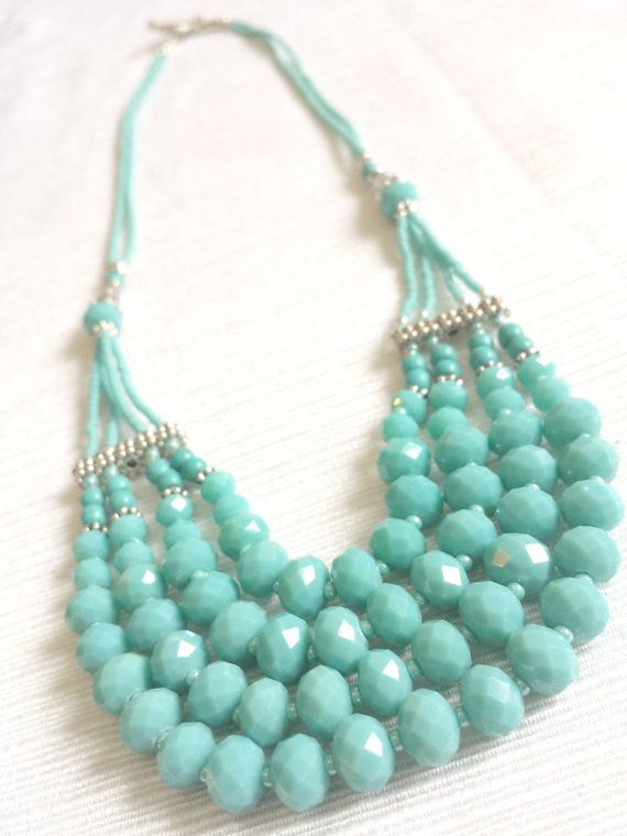 Light Blue Gemstones Necklace By Charming Complements