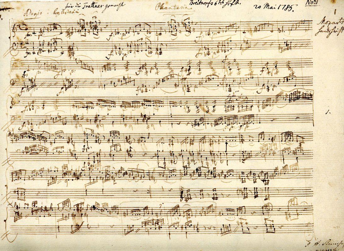 Manuscript Of Mozarts Fantasia In C Minor K475 Dedicated
