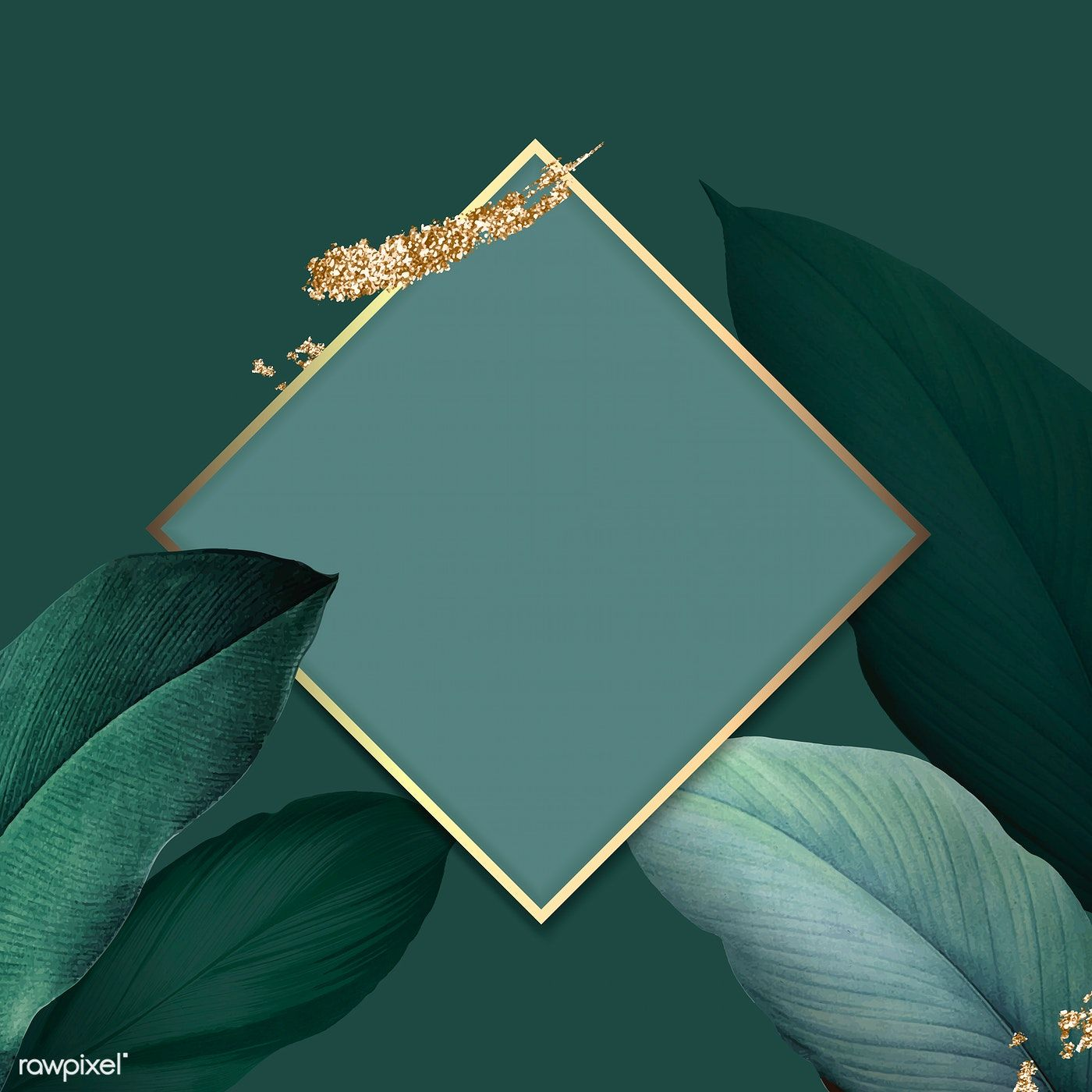 Download premium vector of Rhombus foliage frame on green