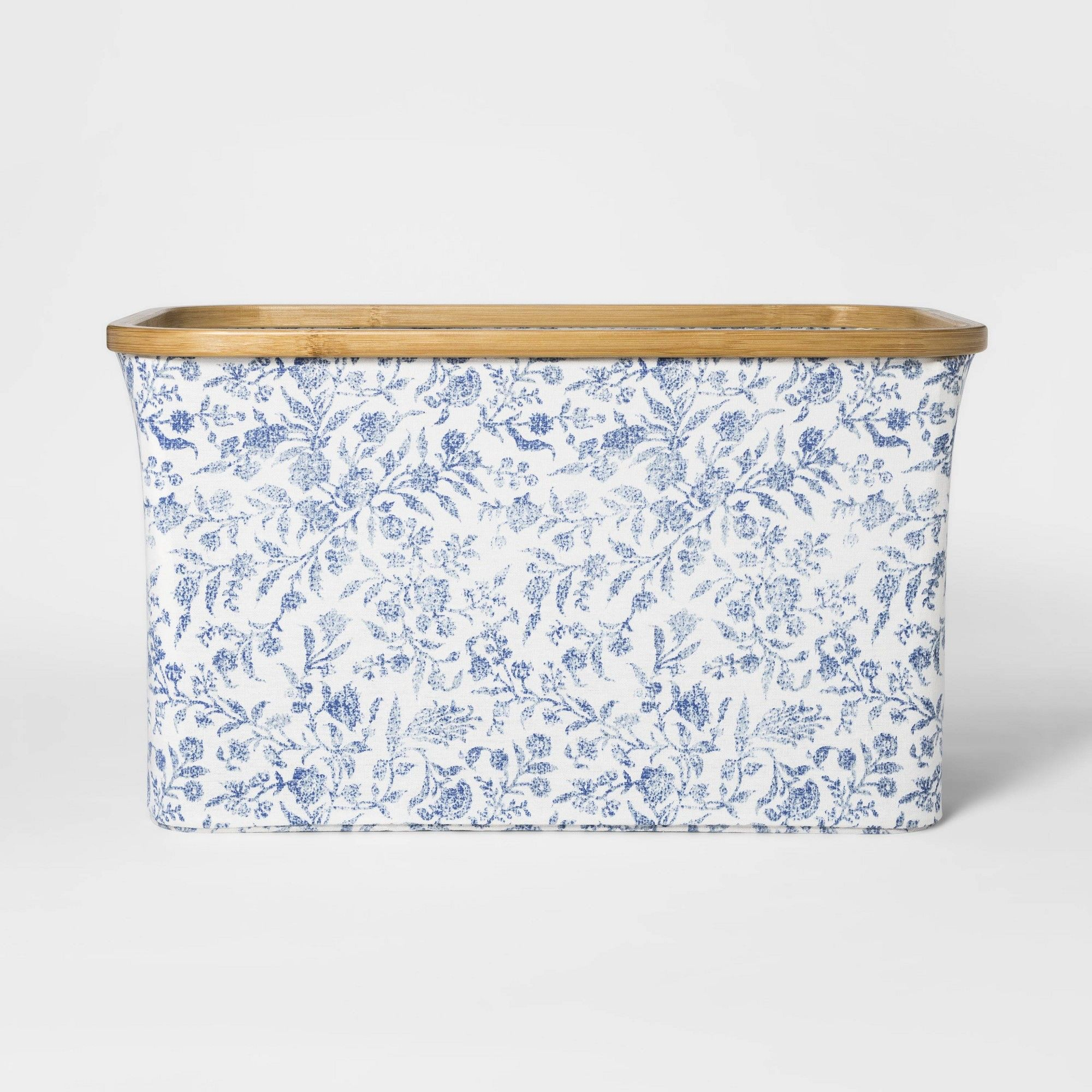 Soft Sided Laundry Basket With Bamboo Rim Floral Blue