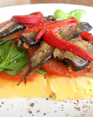 Grilled polenta - would be nice minus the sardines!