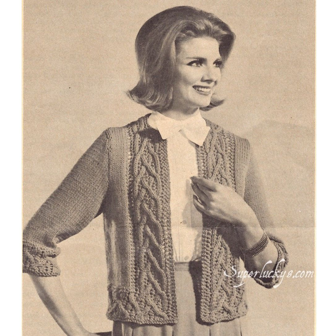 Reprint vintage Braided Cable Chanel Jacket knitting pattern in PDF ...