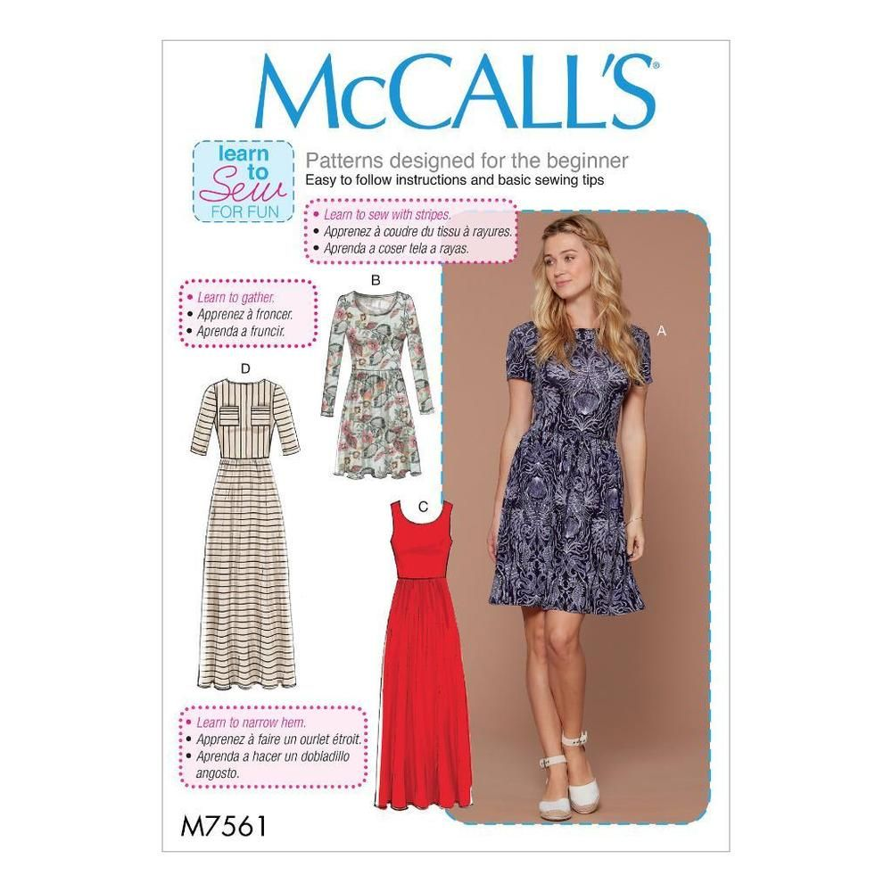 Details zu McCall\'s Nähmuster Misses \'eng anliegendes Pullover Kleid ...