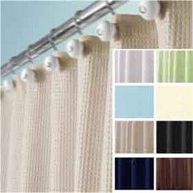 York Waffle Weave Fabric Shower Curtain By Interdesign