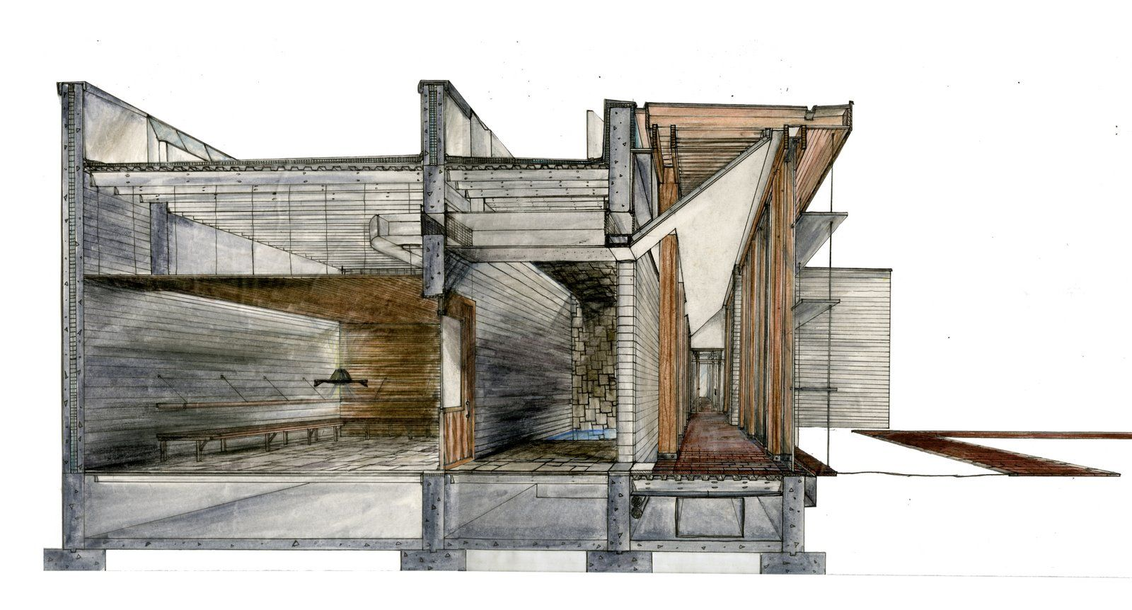 watercolor section perspective projects to try pinterest perspective architectural. Black Bedroom Furniture Sets. Home Design Ideas