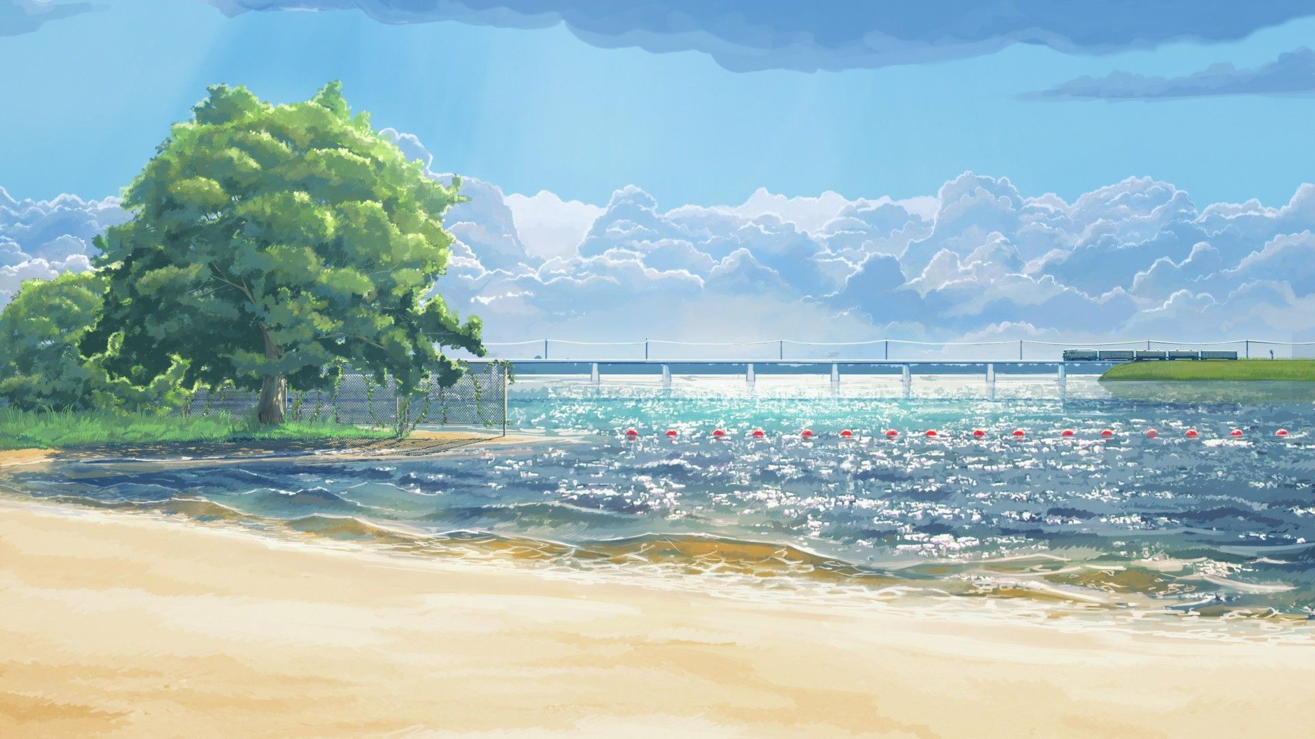 Arsenixc Clouds Everlasting Summer Beach Sea Artwork Trees Wallpaper Anime Scenery Scenery Wallpaper Anime Scenery Wallpaper
