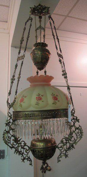 Lot Victorian Hanging Parlor Lamp Lot Number 0245a Starting Bid 100 Auctioneer Stuart Kingston Au Victorian Lamps Antique Oil Lamps Victorian Lighting