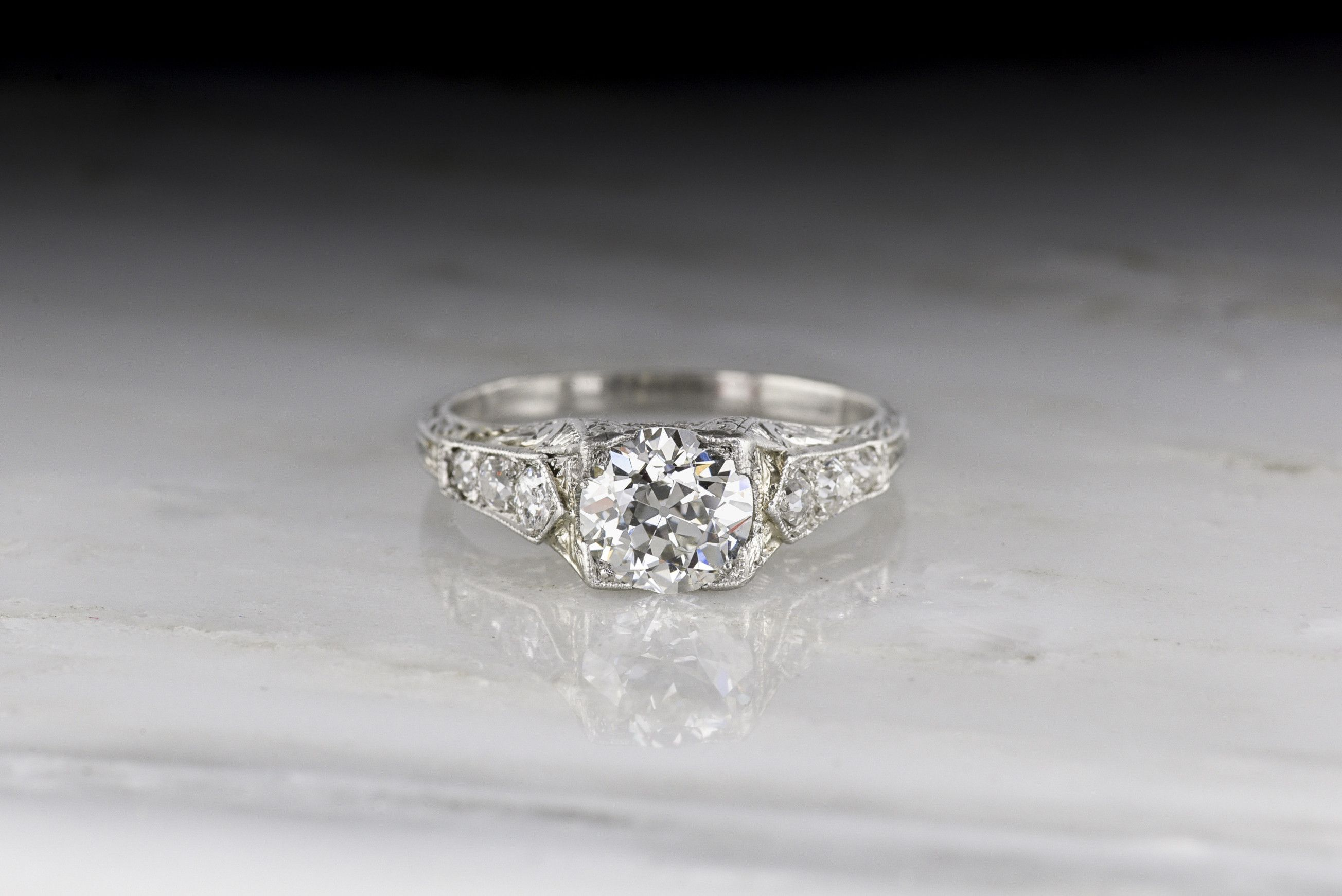 4c4dd361d Antique Edwardian Engagement Ring with a GIA Certified Old European Cut  Diamond Center; French Japonisme Aesthetic Influence with Ornate Hand  Engraving