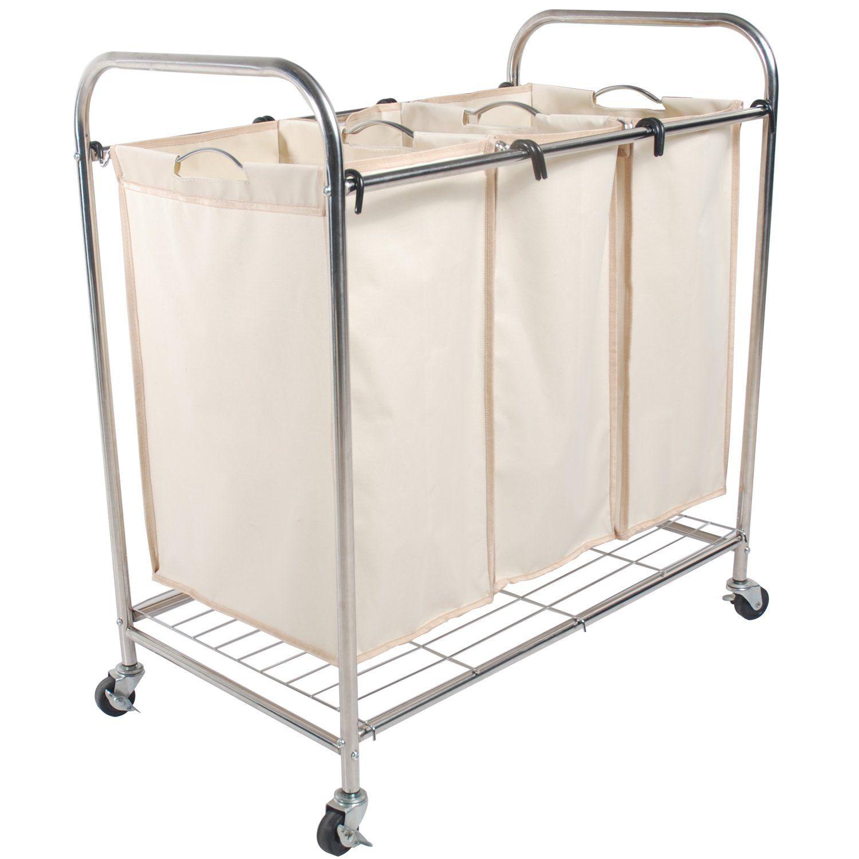 Amazon Com Lohas Heavy Duty Triple Laundry Sorter Chrome White