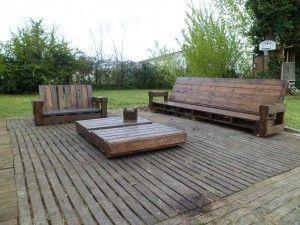 Salon de jardin en palette de bois   Wood creations, Backyard and Woods
