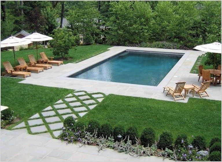 35 Awesome Rectangle Pool Landscaping Ideas Backyard Pool Landscaping Rectangular Swimming Pools Backyard Landscaping Plans