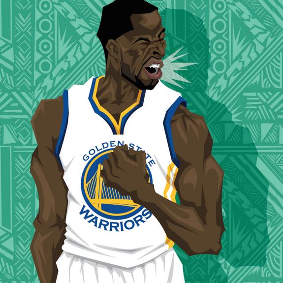 Draymond Green Fired Up Caricature Art Draymond Green Golden State Warriors Sports Art