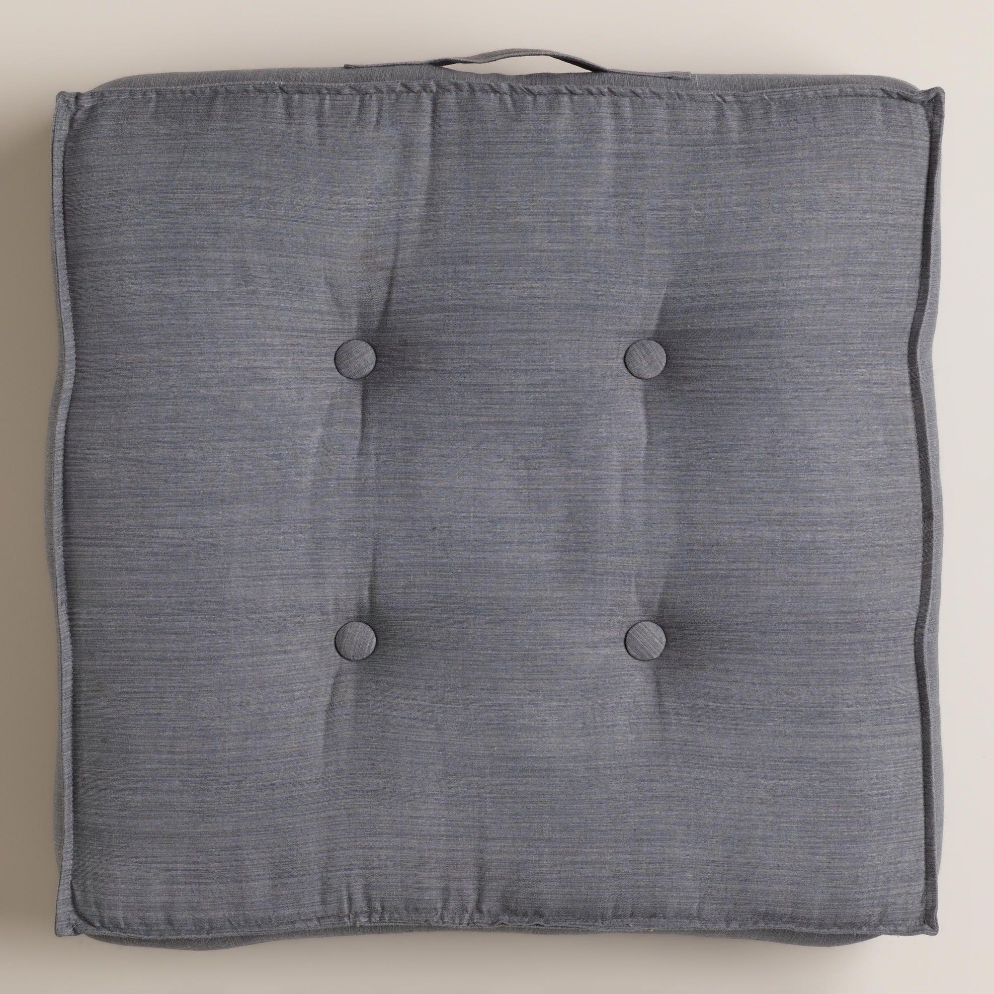 Gray Khadi Tufted Floor Cushion | World Market ~ 2 of these cushions ...