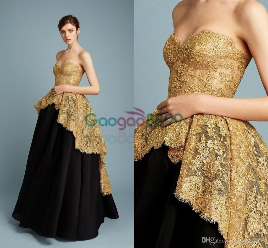 Reem Acra 2017 Spring Modest Ball Gowns Prom Dresses Gold Sparkly ...