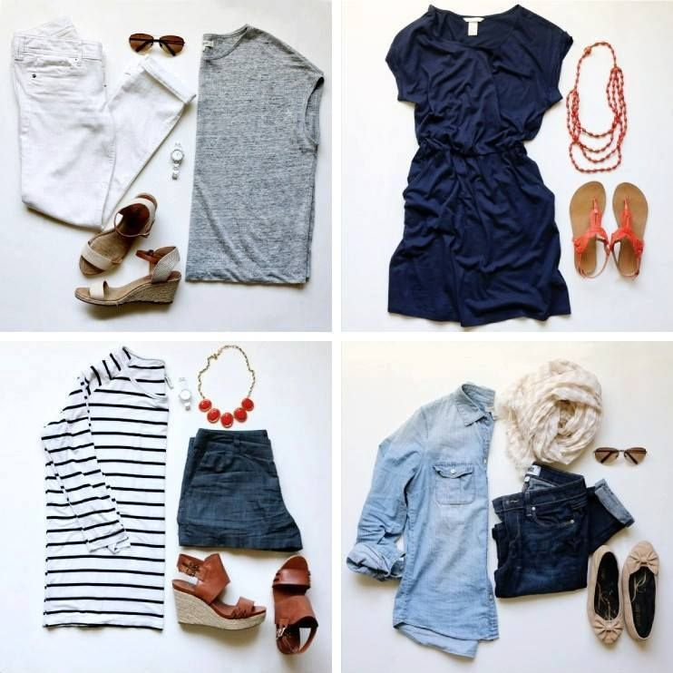 Summer outfits 2016. 1: grey top+white pants+beige wedges. 2: navy dress+coral sandals. 3:striped shirt+shorts+brown wedges+coral necklace. 4: chambray shirt+jeans+beige ballerinas+white scarf+sunglasses.