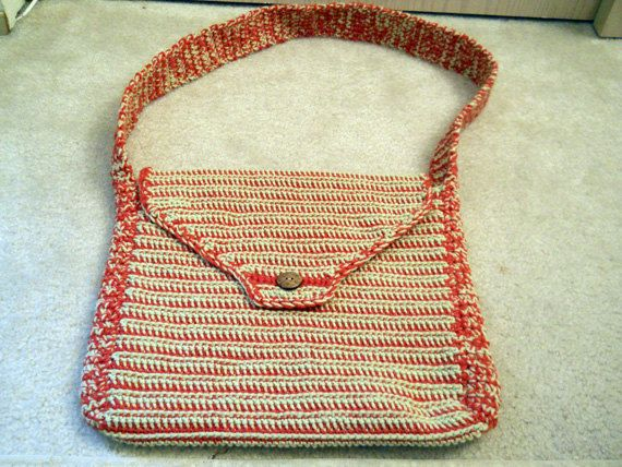 Crocheted bag reversible  satchel messenger bag by CustomBearHugs,  $40.00    #crochetedreversiblebag #crochetedbag #reversiblebag