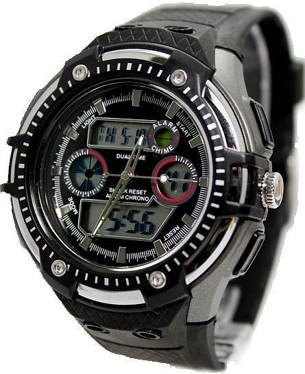 AW360D Mørkegrå Kasse Chronograph Dato Black Bezel Mænd Analog Digital Watch
