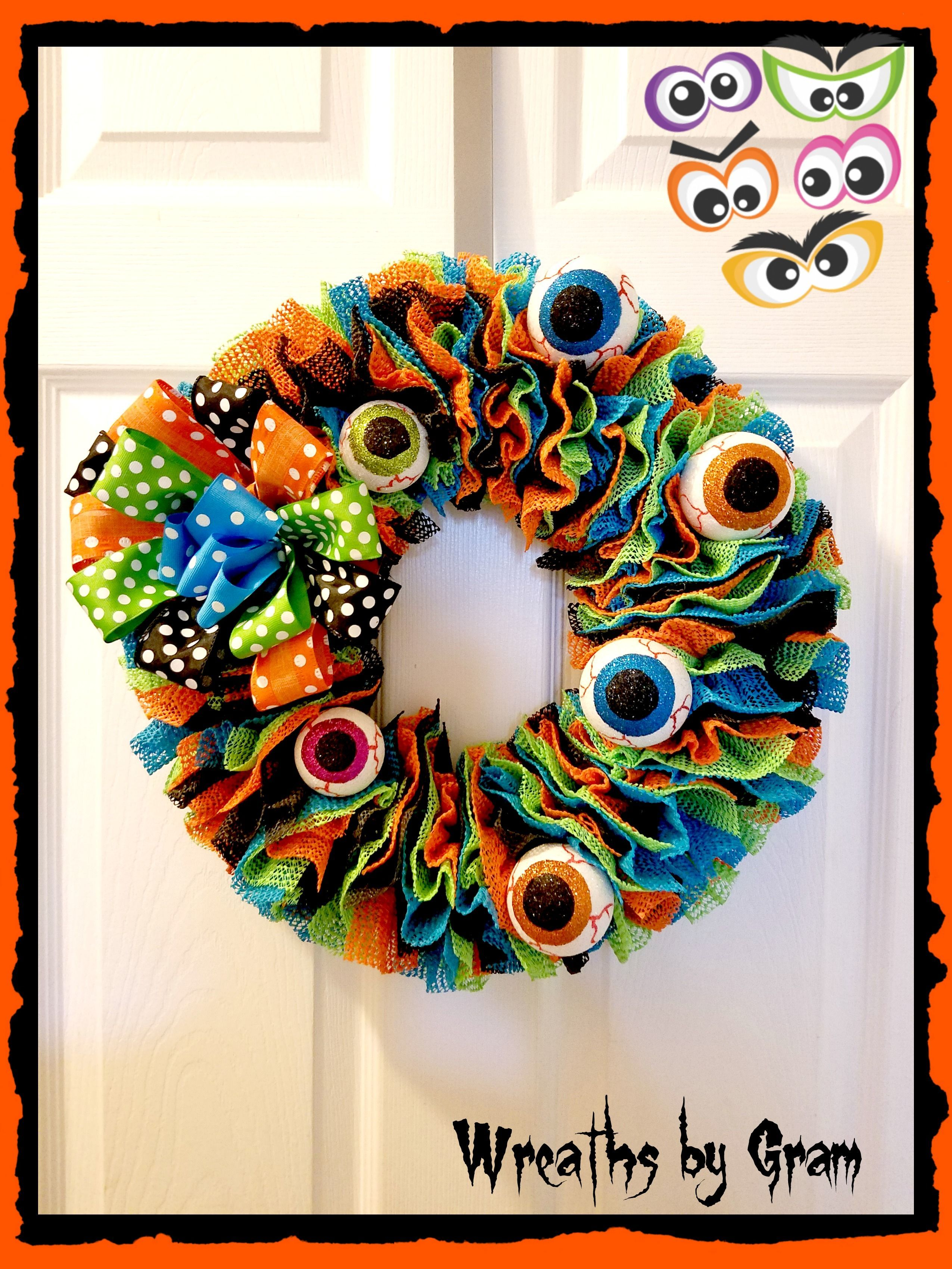 Halloween Wreath; Front Door Wreath; Front Porch Decor; Farmhouse - Front Door Halloween Decorations