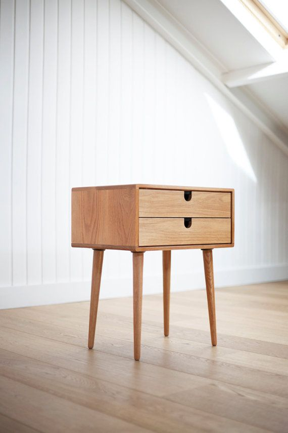 Mid-Century Scandinavian Side Table / Nightstand - Two drawers and retro legs made of solid oak on Etsy, $471.43