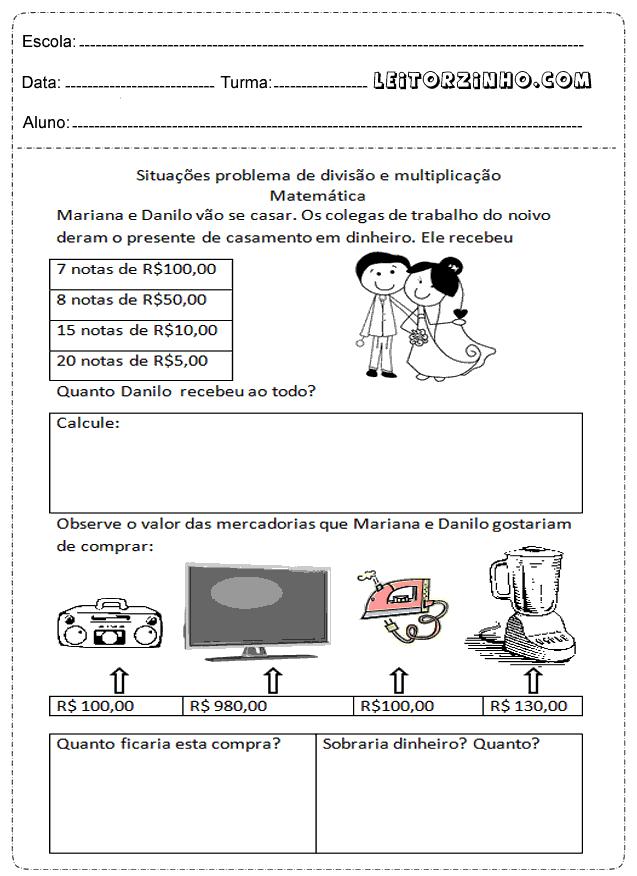 Favoritos Leitores: atividades de matemática 4° ano multiplicação | ESCOLA  ZM27