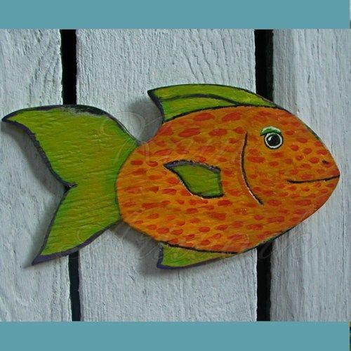 Primitive Folk Art Fish Cutout Salvaged Wood Funky Orange and Green