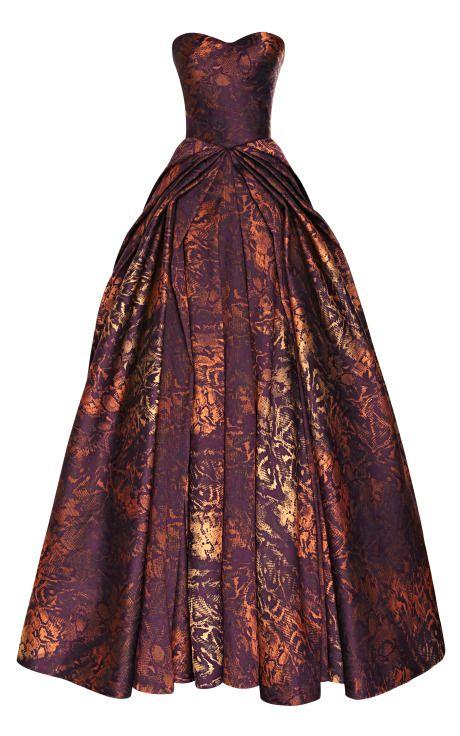 61da94bdc16 Shop Python Floral Jacquard Strapless Gown by Zac Posen for Preorder on  Moda Operandi. Love the colors.