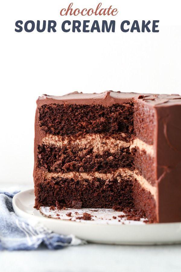 Chocolate Sour Cream Cake Completely Delicious In 2020 Sour Cream Chocolate Cake Sour Cream Cake Chocolate Cake Recipe