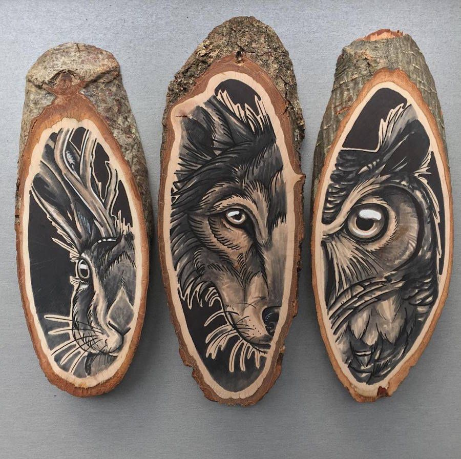 Arte En Madera Pirograbado Stunning Paintings Of Animals On Wood Slices 99inspiration