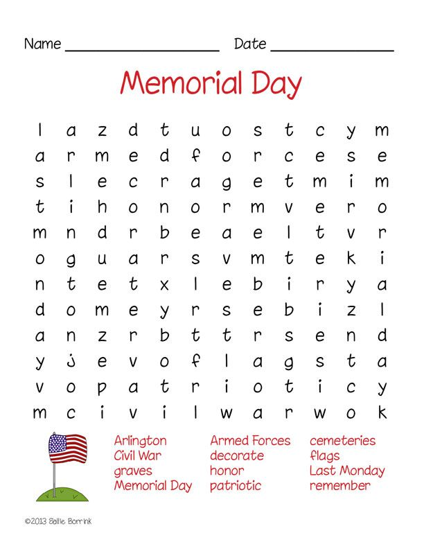 Enjoy this FREE Memorial Day Word Search Puzzle and discover many ...