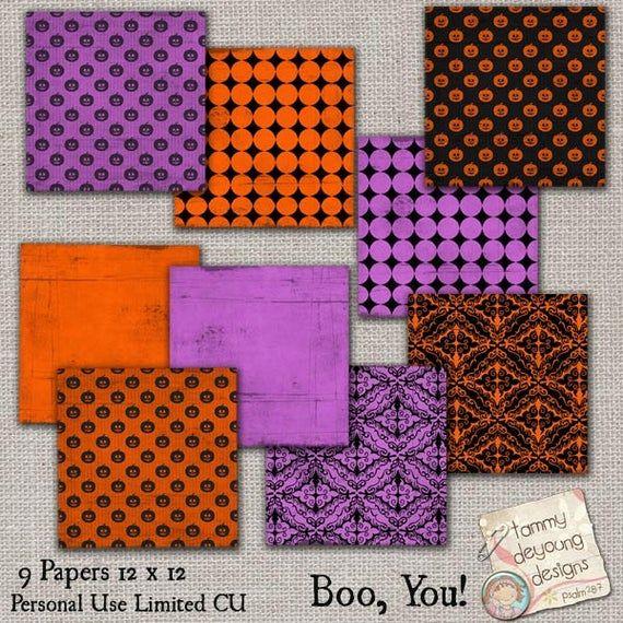 Victorian Halloween Digital Papers, Halloween patterns, Halloween backgrounds purple, black orange f