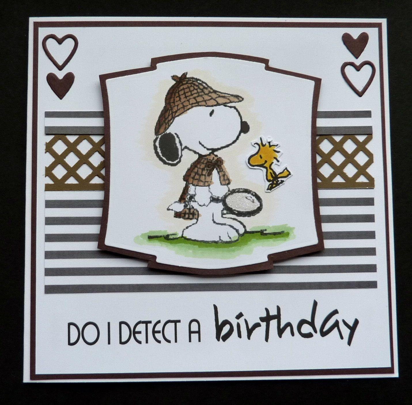 S224 Hand Made Birthday Card Using Snoopy Detective Image Peanuts Birthday Snoopy Birthday Snoopy