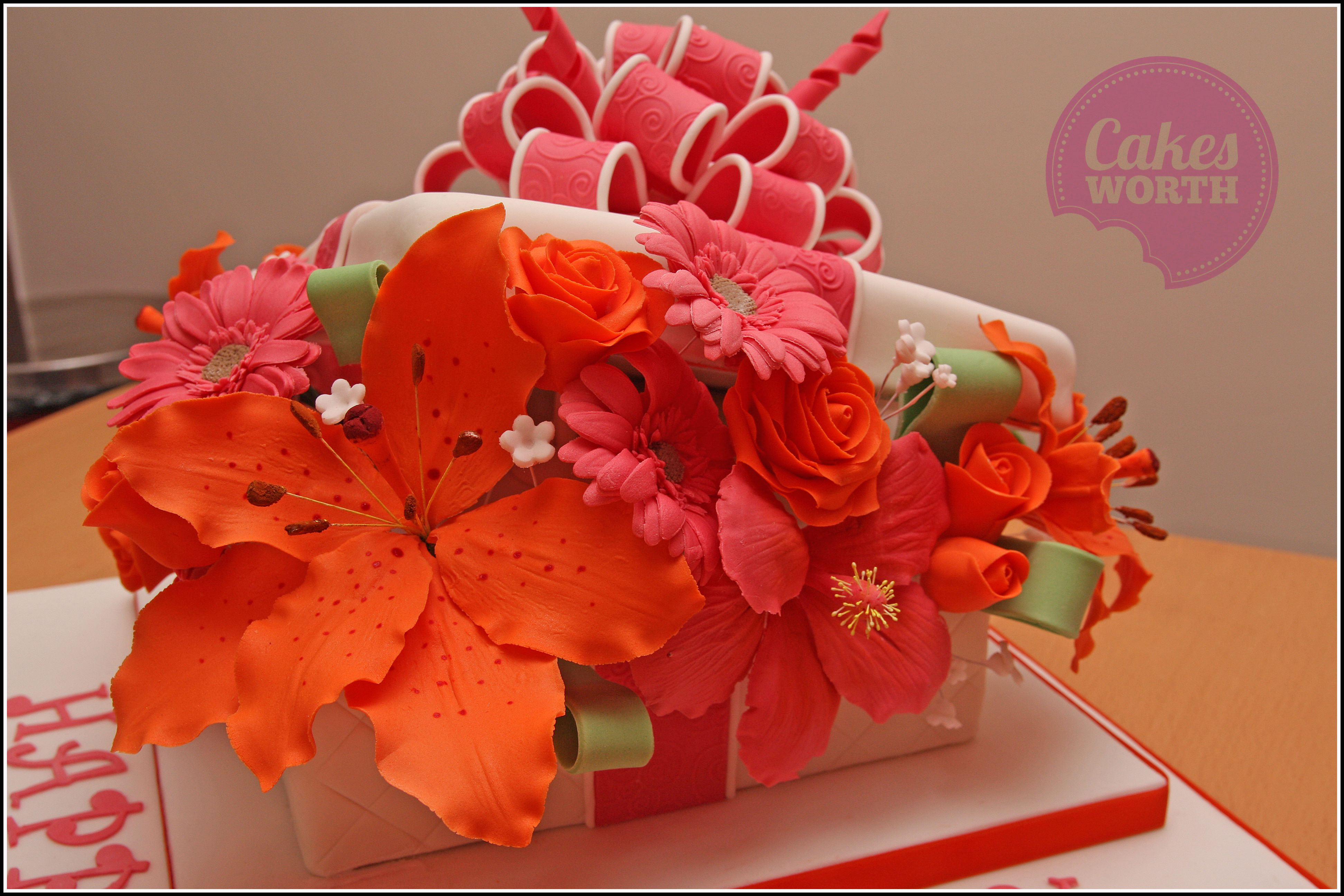 Flower Box Cake With Large Fondant Bow And Overflowing With Sugar