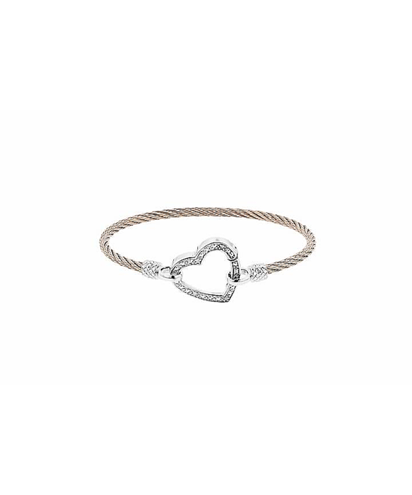 0.05ctw Stainless Steel & Silver Big Heart bracelet- Gold Look