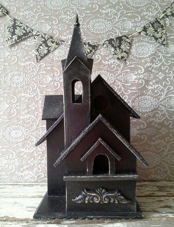 Halloween Decor Ideas HALLOWEEN Birdhouse Halloween decor Black - halloween house decorating ideas